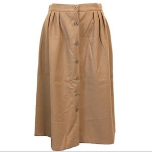 Oscar De La Renta Button Up Skirt Carmel Wool Tan